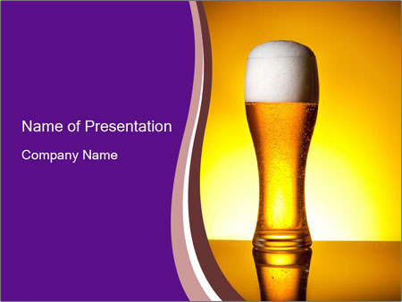 Huge Glass of Light Beer PowerPoint Template