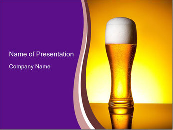Huge Glass of Light Beer PowerPoint Template - Slide 1
