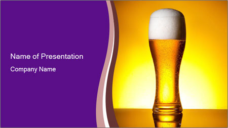 Huge Glass of Light Beer PowerPoint Template