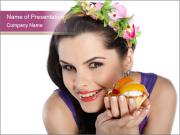 Woman Holding Sweet Cake with Dried Fruits PowerPoint Templates