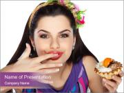 Woman Eating Sweet Cake PowerPoint Templates