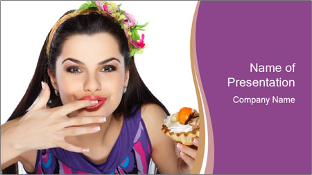 Woman Eating Sweet Cake PowerPoint Template