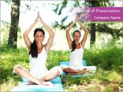 Woman Doing Forest Yoga PowerPoint Templates