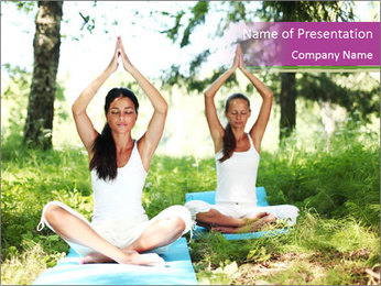 Woman Doing Forest Yoga PowerPoint Template - Slide 1