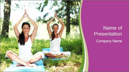 Woman Doing Forest Yoga PowerPoint Template