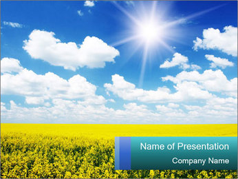 Sunny Sunflower Landscape PowerPoint Templates - Slide 1