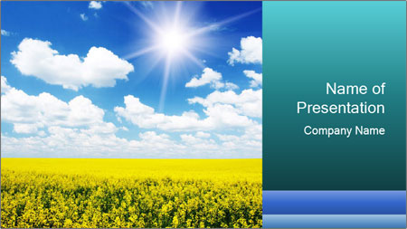 Sunny Sunflower Landscape PowerPoint Template