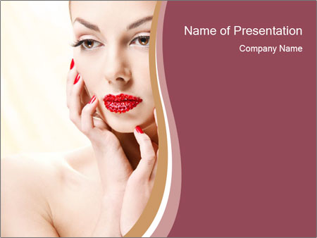 Sweet Woman's Face PowerPoint Template