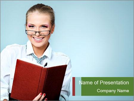 Woman Boss Holding Notebook PowerPoint Templates