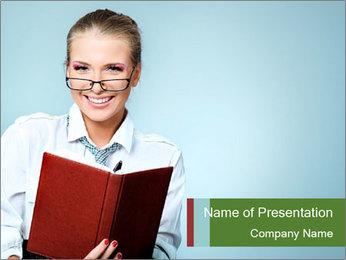 Woman Boss Holding Notebook PowerPoint Templates - Slide 1