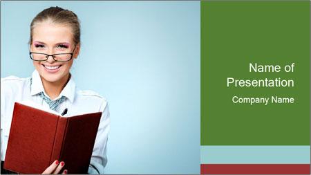 Woman Boss Holding Notebook PowerPoint Template