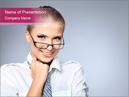 Businesswoman Wearing Trendy Glasses PowerPoint Template