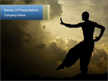 Silhouette of Martial Arts Master PowerPoint Template - Slide 1
