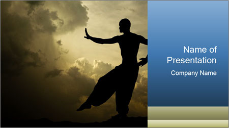 Silhouette of Martial Arts Master PowerPoint Template
