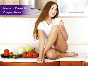 Vegan Girl Sitting on Kitchen Table PowerPoint Template - Slide 1