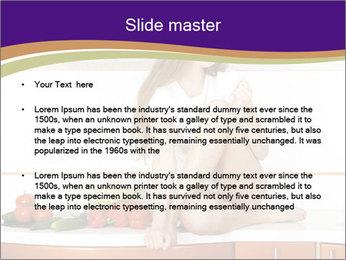 Vegan Girl Sitting on Kitchen Table PowerPoint Template - Slide 2
