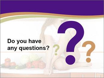 Vegan Girl Sitting on Kitchen Table PowerPoint Template - Slide 96