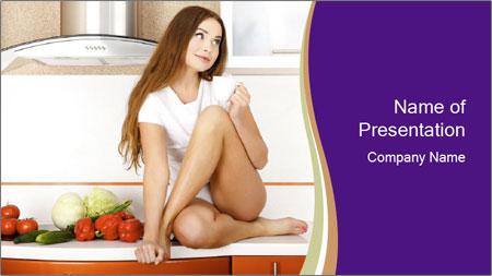 Vegan Girl Sitting on Kitchen Table PowerPoint Template