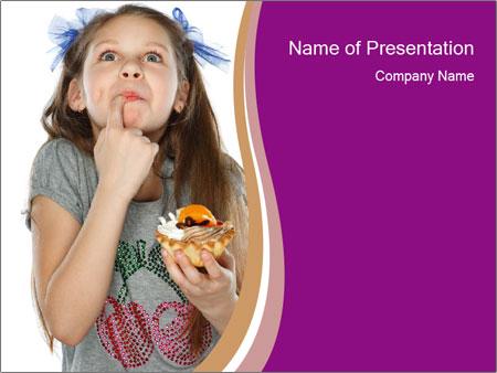 Schoolgirl Eats Cake PowerPoint Templates