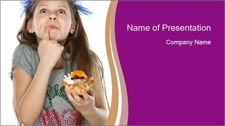 Schoolgirl Eats Cake PowerPoint Template