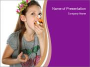 Girl Eats Sweet Cake PowerPoint Templates