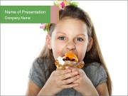Girl Eating Fruit Cake PowerPoint Templates