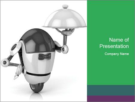 3D Robot Waiter PowerPoint Template