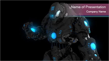 Futuristic Fiction Robot PowerPoint Template