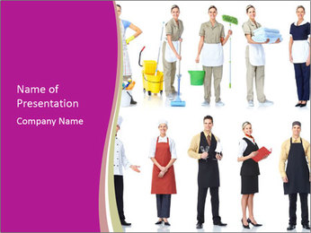Team of Cleaners PowerPoint Template - Slide 1