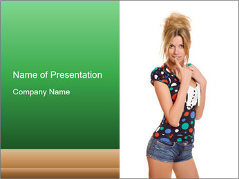 Flirting Young Woman PowerPoint Template - Slide 1