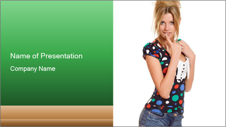 Flirting Young Woman PowerPoint Template