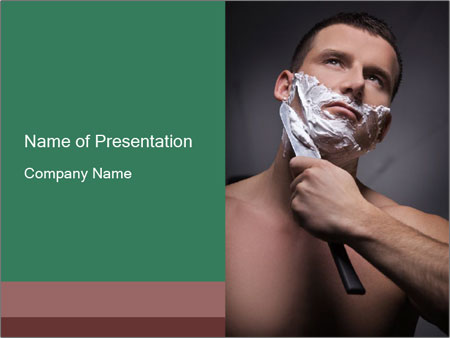 Man Shaving with Knife PowerPoint Template