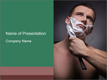 Man Shaving with Knife PowerPoint Template - Slide 1