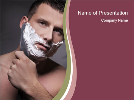 Man Shaving his Face PowerPoint Templates
