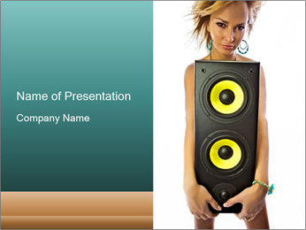 Woman Holding Stereo System PowerPoint Template - Slide 1