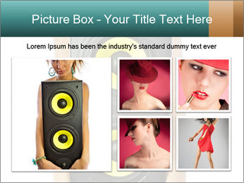 Woman Holding Stereo System PowerPoint Template - Slide 19