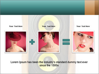 Woman Holding Stereo System PowerPoint Template - Slide 22