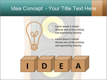 Woman Holding Stereo System PowerPoint Template - Slide 80