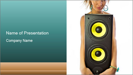 Woman Holding Stereo System PowerPoint Template