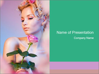 Blond Woman and Pink Rose PowerPoint Template - Slide 1