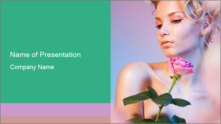 Blond Woman and Pink Rose PowerPoint Template