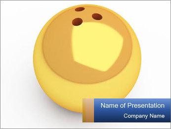 3D Yellow Bowling Ball PowerPoint Template - Slide 1