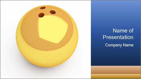 3D Yellow Bowling Ball PowerPoint Template