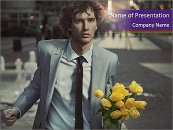 Attractive Guy with Yellow Tulips PowerPoint Templates - Slide 1