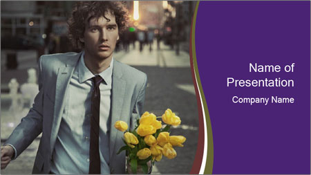 Attractive Guy with Yellow Tulips PowerPoint Template