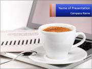 Cup of Coffee Put on Laptop PowerPoint Templates