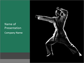 Silhouette of Martial Fighter PowerPoint Template - Slide 1