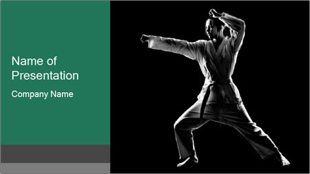 Silhouette of Martial Fighter PowerPoint Template