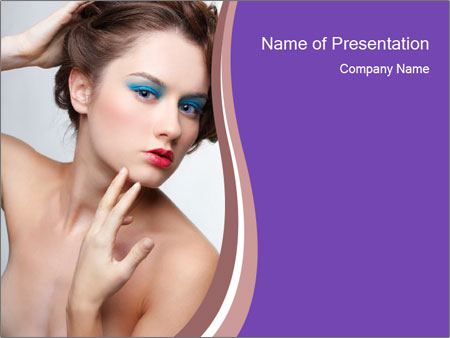 Woman and Creative Makeup PowerPoint Template