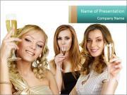 Women Drinking Champagne PowerPoint Templates